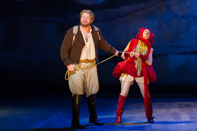 "Andrew Maughan as Cacambo and Jeni Houser as El Dorado Sheep in The Glimmerglass Festival's 2015 production of Bernstein's ""Candide."" Photo: Karli Cadel/The Glimmerglass Festival."