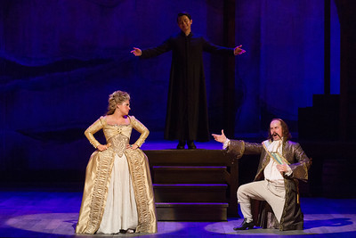 "Kathryn Lewek as Cunegonde and Brad Raymond as the Governor in The Glimmerglass Festival's 2015 production of Bernstein's ""Candide."" Photo: Karli Cadel/The Glimmerglass Festival."