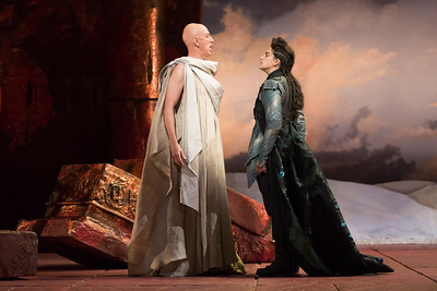 "Thomas Michael Allen as Cato and Allegra De Vita as Fulvio in The Glimmerglass Festival's 2015 production of Vivaldi's ""Cato in Utica."" Photo: Karli Cadel/The Glimmerglass Festival."