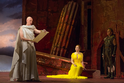 "Thomas Michael Allen as Cato, Megan Samarin as Marzia and Eric Jurenas as Arbacein The Glimmerglass Festival's 2015 production of Vivaldi's ""Cato in Utica."" Photo: Karli Cadel/The Glimmerglass Festival."