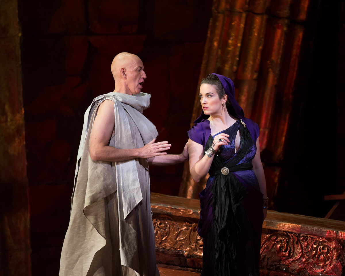 "Thomas Michael Allen as Cato and Sarah Mesko as Emilia in The Glimmerglass Festival's 2015 production of Vivaldi's ""Cato in Utica."" Photo: Dory Schultz/The Glimmerglass Festival"