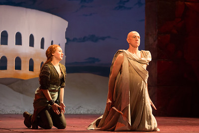 "Megan Samarin as Marzia and Thomas Michael Allen as Cato in The Glimmerglass Festival's 2015 production of Vivaldi's ""Cato in Utica."" Photo: Dory Schultz/The Glimmerglass Festival"
