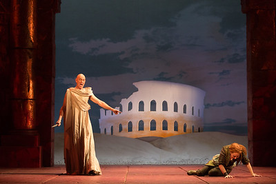 "Thomas Michael Allen as Cato and Megan Samarin as Marzia in The Glimmerglass Festival's 2015 production of Vivaldi's ""Cato in Utica."" Photo: Karli Cadel/The Glimmerglass Festival."