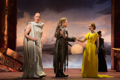 "Thomas Michael Allen as Cato, Eric Jurenas as Arbace and Megan Samarin as Marzia in The Glimmerglass Festival's 2015 production of Vivaldi's ""Cato in Utica."" Photo: Karli Cadel/The Glimmerglass Festival."