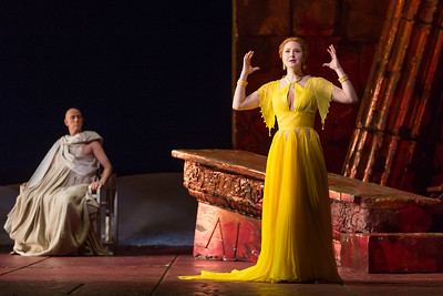 "Thomas Michael Allen as Cato and Megan Samarin as Marzia in The Glimmerglass Festival's 2015 production of Vivaldi's ""Cato in Utica."" Photo: Karli Cadel/The Glimmerglass Festival"