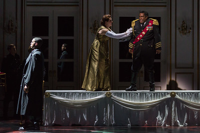 "Soloman Howard as Banquo, Melody Moore as Lady Macbeth and Eric Owens as Macbeth in The Glimmerglass Festival's 2015 production of ""Macbeth."" Photo: Karli Cadel/The Glimmerglass Festival"
