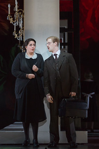 "Mithra Mastropierro as Lady-in-Waiting and Nathan Milholin as Servant in The Glimmerglass Festival's 2015 production of ""Macbeth."" Photo: Karli Cadel/The Glimmerglass Festival"