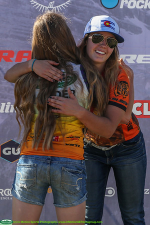 Harper Powell, Salida, South Varsity Leader and Gold for the day, congratulates Marta Morris, Grand Junction on her Bronze. Photo Leslie Farnsworth-Lee.