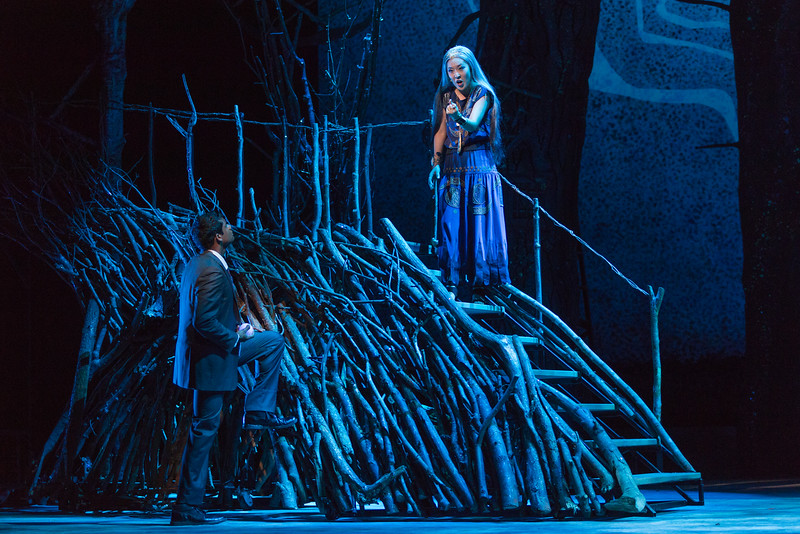 """Sean Panikkar as Tamino and So Young Park as Queen of the Night in The Glimmerglass Festival's 2015 production of Mozart's """"The Magic Flute."""" Photo: Karli Cadel/The Glimmerglass Festival"""