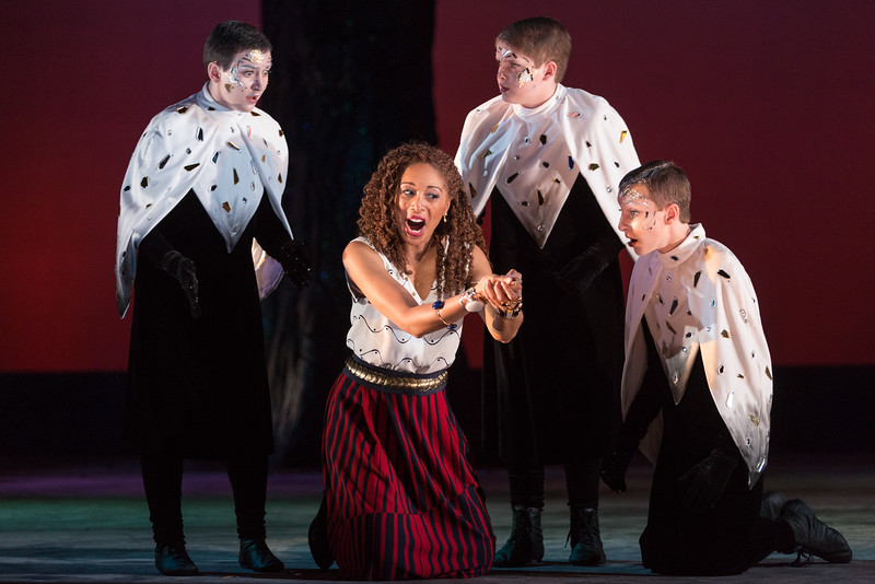 """Jacqueline Echols as Pamina and Samuel Soloman, Joelle Lachance and Andrew Pulver as Spirits in The Glimmerglass Festival's 2015 production of Mozart's """"The Magic Flute."""" Photo: Karli Cadel/The Glimmerglass Festival"""