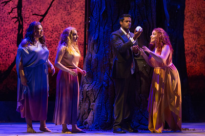 "Claudia Chapa, Aleksandra Romano and Raquel González as The Three Ladies and Sean Panikkar as Tamino in The Glimmerglass Festival's 2015 production of Mozart's ""The Magic Flute."" Photo: Karli Cadel/The Glimmerglass Festival"