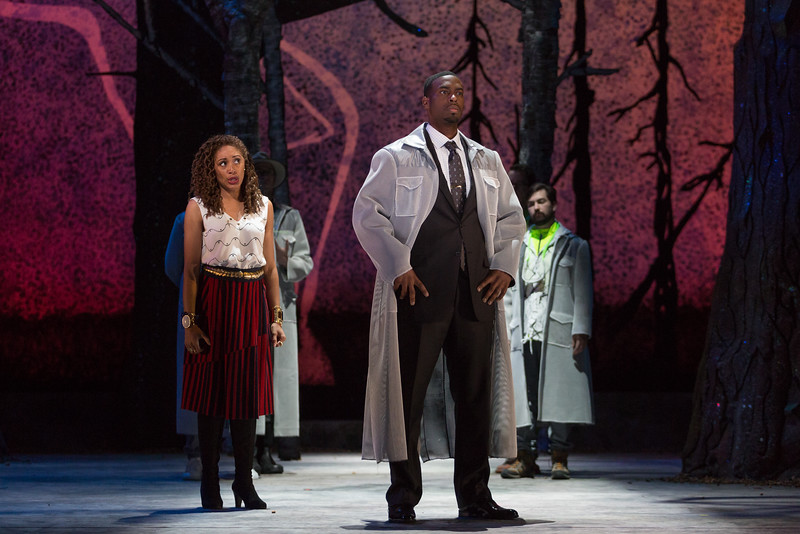 """Jacqueline Echols as Pamina and Soloman Howard as Sarastro in The Glimmerglass Festival's 2015 production of Mozart's """"The Magic Flute."""" Photo: Karli Cadel/The Glimmerglass Festival"""