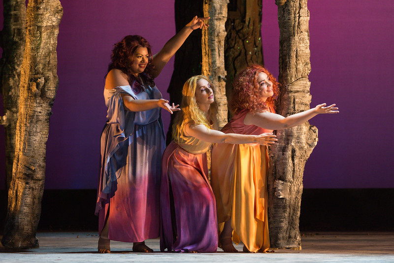 "Claudia Chapa, Aleksandra Romano and Raquel González as The Three Ladies in The Glimmerglass Festival's 2015 production of Mozart's ""The Magic Flute."" Photo: Karli Cadel/The Glimmerglass Festival"