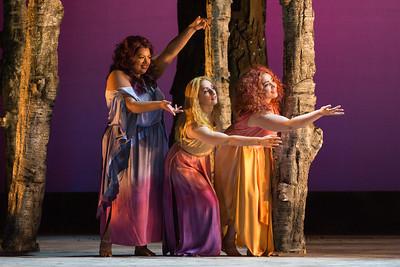 "Claudia Chapa, Aleksandra Romano and Raquel González as The Three Ladies in The Glimmerglass Festival's 2015 production of Mozart's ""The Magic Flute."" Photo: Karli Cadel/The Glimmerglass Festival"