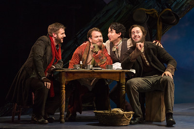 "L to R: Michael Brandenburg as Rodolfo, Hunter Enoch as Marcello, Brian Vu as Schaunard and Ryhs Lloyd Talbot as Colline in The Glimmerglass Festival production of Puccini's ""La bohème."" Photo: Karli Cadel/The Glimmerglass Festival"