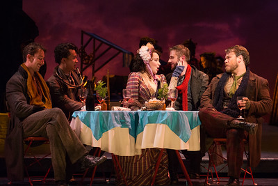 "L to R: Rhys Lloyd Talbot as Colline, Brian Vu as Schaunard, Raquel González as Mimì, Michael Brandenburg as Rodolfo and Hunter Enoch as Marcello in The Glimmerglass Festival production of Puccini's ""La bohème."" Photo: Karli Cadel/The Glimmerglass Festival"