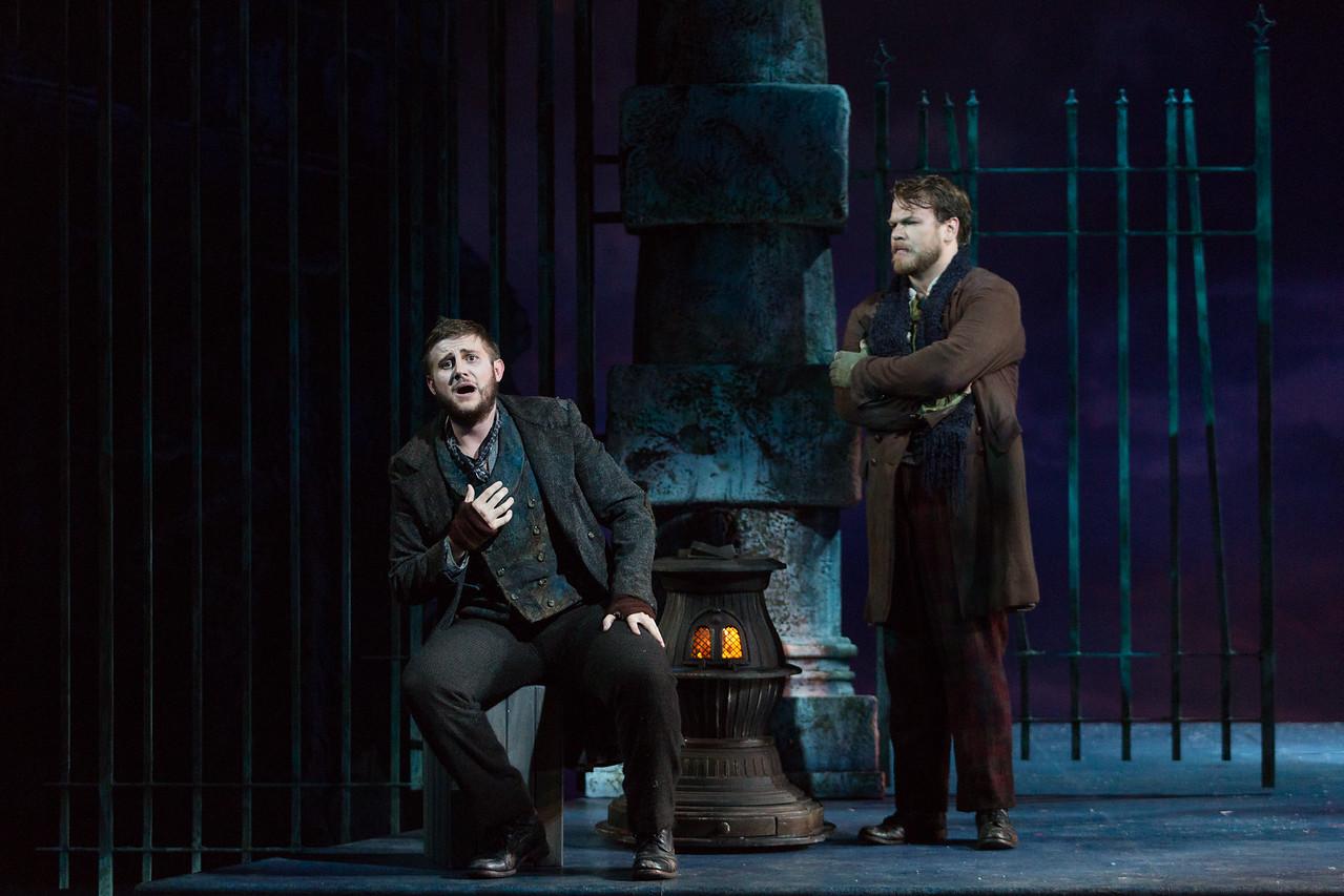"""Michael Brandenburg as Rodolfo and Hunter Enoch as Marcello in The Glimmerglass Festival production of Puccini's """"La bohème."""" Photo: Karli Cadel/The Glimmerglass Festival"""