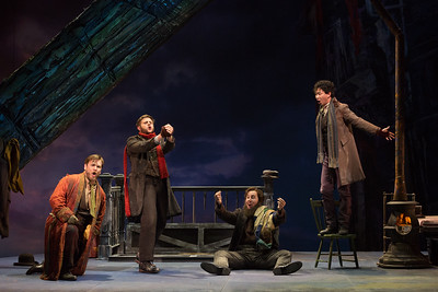 "L to R: Hunter Enoch as Marchello, Michael Brandenburg as Rodolfo, Rhys Lloyd Talbot as Colline and Brian Vu as Schaunard in The Glimmerglass Festival's production of Puccini's ""La bohème."" Photo: Karli Cadel/The Glimmerglass Festival"