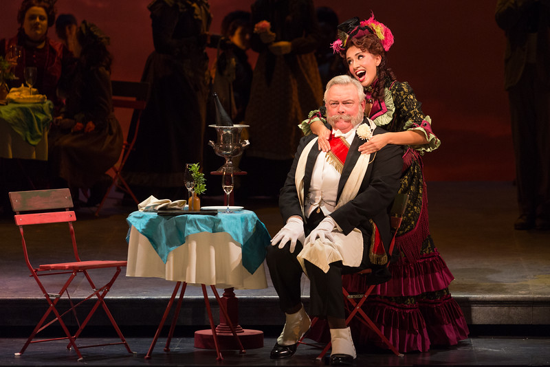 "Dale Travis as Alcindoro and Vanessa Becerra as Musetta in The Glimmerglass Festival's production of Puccini's ""La bohème."" Photo: Karli Cadel/The Glimmerglass Festival"
