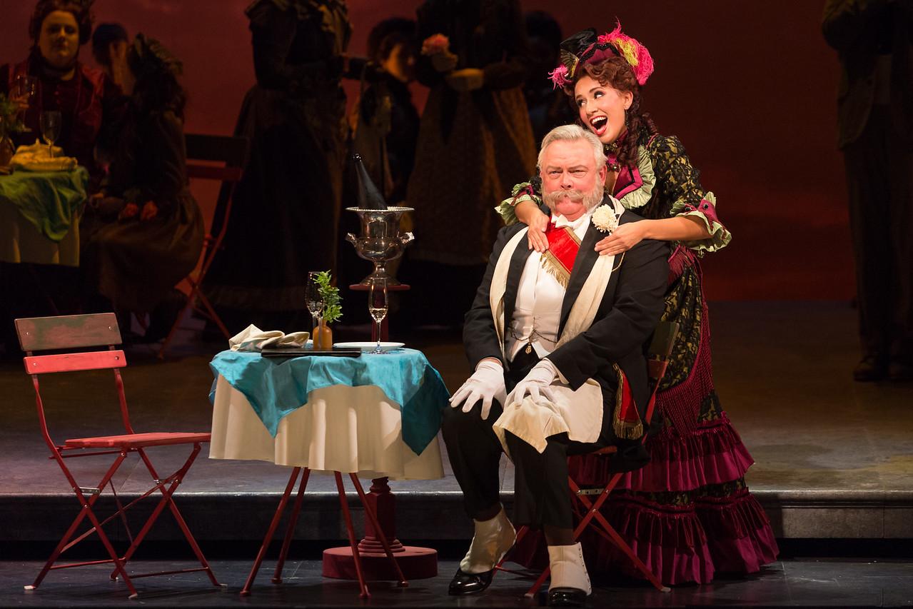 "Dale Travis as Alcindoro and Vanessa Becerra as Musetta in The Glimmerglass Festival's production of Puccini's ""La bohème."" Photo: Karli Cadel/The Glimmerglass Festival"