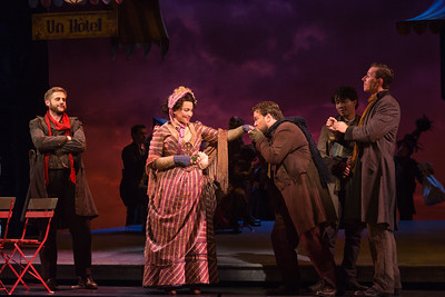 "L to R: Michael Brandenburg as Rodolfo, Raquel González as Mimì, Hunter Enoch as Marcello, Brian Vu as Schaunard and Rhys Lloyd Talbot in The Glimmerglass Festival's production of Puccini's ""La bohème."" Photo: Karli Cadel/The Glimmerglass Festival"