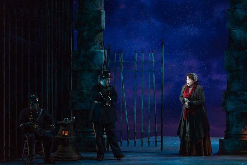 "Raquel González as Mimì and members of the ensemble in The Glimmerglass Festival production of Puccini's ""La bohème."" Photo: Karli Cadel/The Glimmerglass Festival"