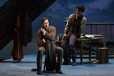 "L to R: Rhys Lloyd Talbot as Colline and Brian Vu as Schaunard in The Glimmerglass Festival production of Puccini's ""La bohème."" Photo: Karli Cadel/The Glimmerglass Festival"