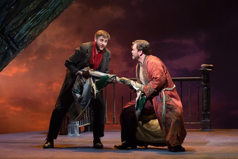 """Michael Brandenburg as Rodolfo and Hunter Enoch as Marcello in The Glimmerglass Festival's production of Puccini's """"La bohème."""" Photo: Karli Cadel/The Glimmerglass Festival"""