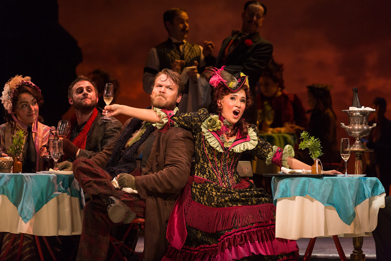 "Raquel González as Mimì, Michael Brandenburg as Rodolfo, Hunter Enoch as Marcello and Vanessa Becerra as Musetta in The Glimmerglass Festival production of Puccini's ""La bohème."" Photo: Karli Cadel/The Glimmerglass Festival"