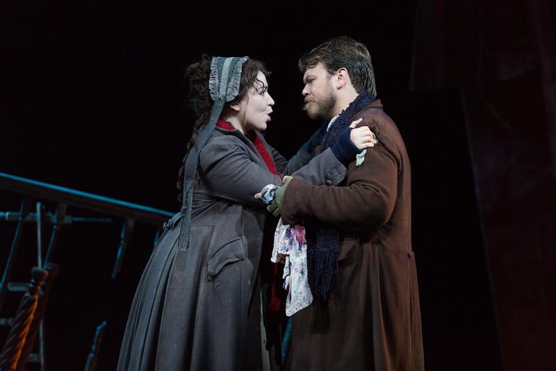 """Raquel González as Mimì and Hunter Enoch as Marcello in The Glimmerglass Festival production of Puccini's """"La bohème."""" Photo: Karli Cadel/The Glimmerglass Festival"""