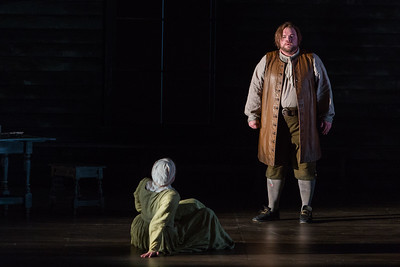 """Maren Weinberger as Mary Warren and Brian Mulligan as John Proctor in The Glimmerglass Festival's production of Robert Ward's """"The Crucible."""" Photo: Karli Cadel/The Glimmerglass Festival"""