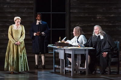 """Maren Weinberger as Mary Warren, Frederick Ballentine as Reverend Samuel Parris, Ian Koziara as Ezekiel Cheever and Jay Hunter Morris as Judge Danforth in The Glimmerglass Festival's production of Robert Ward's """"The Crucible."""" Photo: Karli Cadel/The Glimmerglass Festival"""