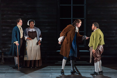 """Zachary Owen as Francis Nurse, Helena Brown as Rebecca Nurse, Michael Miller as Thomas Putnam and Chaz-men Williams-Ali  in The Glimmerglass Festival's production of Robert Ward's """"The Crucible."""" Photo: Karli Cadel/The Glimmerglass Festival"""