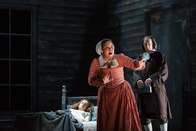 """Ariana Wehr as Abigail Williams and David Pittsinger as Reverend John Hale in The Glimmerglass Festival's production of Robert Ward's """"The Crucible."""" Photo: Karli Cadel/The Glimmerglass Festival"""
