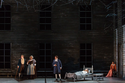 """L to R: Zachary Owen as Francis Nurse, Helena Brown as Rebecca Nurse, Frederick Ballentine as Reverend Samuel Parris, Mary Beth Nelson as Betty Parris  in The Glimmerglass Festival's production of Robert Ward's """"The Crucible."""" Photo: Karli Cadel/The Glimmerglass Festival"""