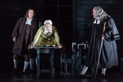 """David Pittsinger as Reverend John Hale, Maren Weinberger as Mary Warren and Jay Hunter Morris as Judge Danforth in The Glimmerglass Festival's production of Robert Ward's """"The Crucible."""" Photo: Karli Cadel/The Glimmerglass Festival"""