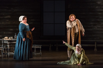 """Jamie Barton as Elizabeth Proctor, Brian Mulligan as John Proctor and Maren Weinberger as Mary Warren in The Glimmerglass Festival's production of Robert Ward's """"The Crucible."""" Photo: Karli Cadel/The Glimmerglass Festival"""