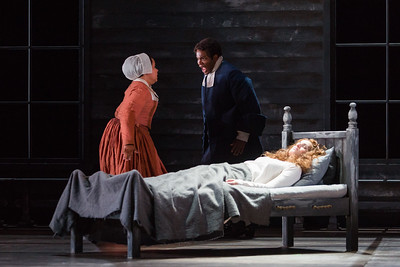 """L to R: Ariana Wehr as Abigail Williams, Frederick Ballentine as Reverend Samuel Parris and Mary Beth Nelson as Betty Parris  in The Glimmerglass Festival's production of Robert Ward's """"The Crucible."""" Photo: Karli Cadel/The Glimmerglass Festival"""