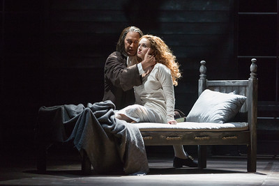 """David Pittsinger as Reverend John Hale and Mary Beth Nelson as Betty Parris  in The Glimmerglass Festival's production of Robert Ward's """"The Crucible."""" Photo: Karli Cadel/The Glimmerglass Festival"""