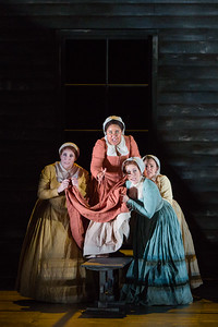 """L to R: Molly Jane Hill as Susanna Walcott, Ariana Wehr as Abigail Williams, Mary Beth Nelson as Betty Parris and Emma Grimsley as Ruth Putnam in The Glimmerglass Festival's production of Robert Ward's """"The Crucible."""" Photo: Karli Cadel/The Glimmerglass Festival"""