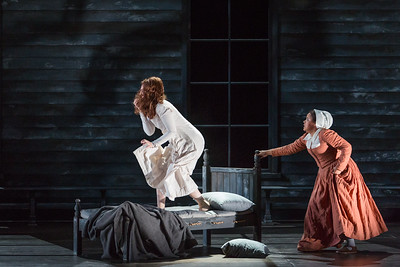 """Mary Beth Nelson as Betty Parris and Ariana Wehr as Abigail Williams in The Glimmerglass Festival's production of Robert Ward's """"The Crucible."""" Photo: Karli Cadel/The Glimmerglass Festival"""