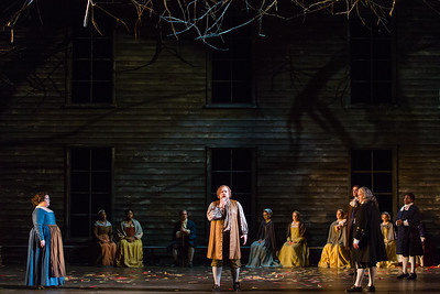 """L to R: Jamie Barton as Elizabeth Proctor, Brian Mulligan as John Proctor and Jay Hunter Morris as Judge Danforth  in The Glimmerglass Festival's production of Robert Ward's """"The Crucible."""" Photo: Karli Cadel/The Glimmerglass Festival"""