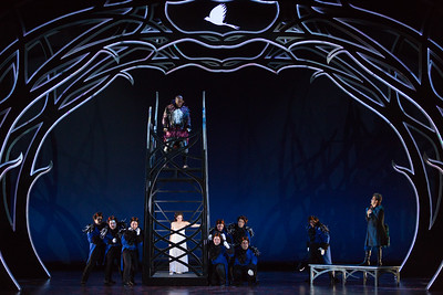 "Musa Ngqungwana as Gottardo, Rachele Gilmore as Ninetta, Brad Raymond as Antonio (right) and members of the ensemble in The Glimmerglass Festival's production of Rossini's ""The Thieving Magpie."" Photo: Karli Cadel/The Glimmerglass Festival"