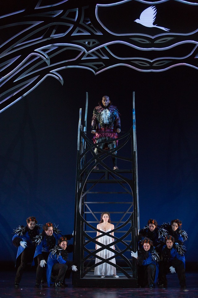 """Musa Ngqungwana as Gottardo, Rachele Gilmore as Ninetta and members of the ensemble in The Glimmerglass Festival's production of Rossini's """"The Thieving Magpie."""" Photo: Karli Cadel/The Glimmerglass Festival"""