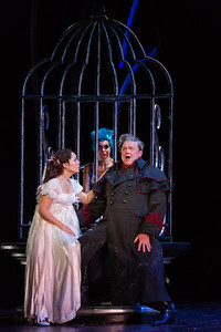 "L to R: Rachele Gilmore as Ninetta, Meg Gillentine as the Magpie and Dale Travis as Fernando Villabella in The Glimmerglass Festival's production of ""The Thieving Magpie"""