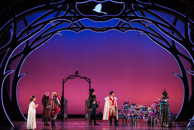 "L to R: Rachele Gilmore as Ninetta, Ensemble member Simon Dyer, Musa Ngqungwana as Gottardo, Calvin Griffin as Fabrizio Vingradito, Michele Angelini as Giannetto and Leah Hawkins as Lucia in The Glimmerglass Festival's production of ""The Thieving Magpie"""