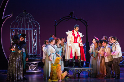 "L to R: Leah Hawkins as Lucia, Calvin Griffin as Fabrizio Vingradito, Michele Angelini as Giannetto and members of the ensemble in The Glimmerglass Festival's production of ""The Thieving Magpie"""