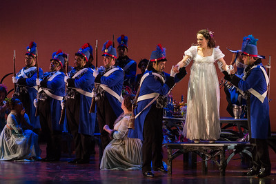 "Rachele Gilmore as Ninetta and members of the ensemble in The Glimmerglass Festival's production of ""The Thieving Magpie"""