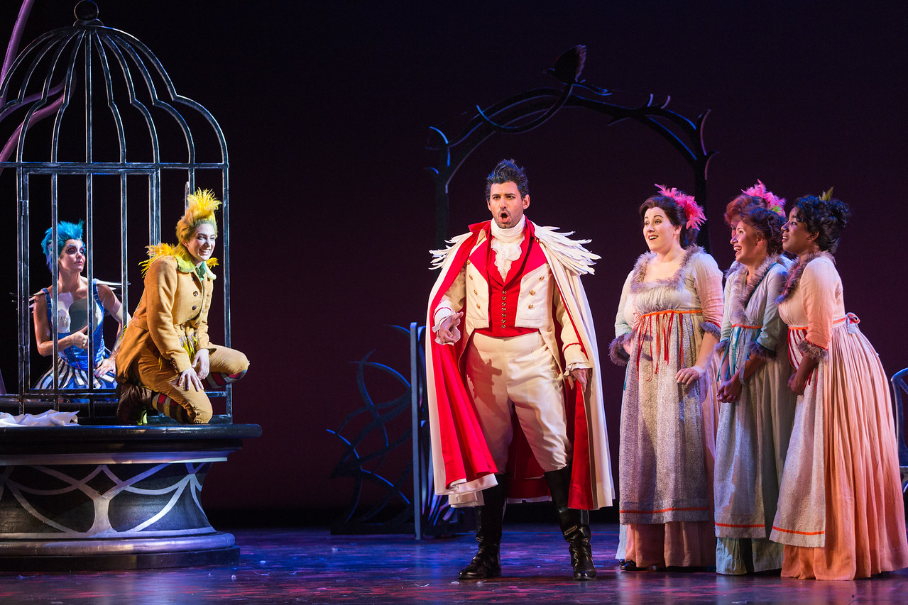 "L to R: Meg Gillentine as the Magpie, Allegra De Vita as Pippo, Michele Angelini as Giannetto and members of the ensemble in The Glimmerglass Festival's production of ""The Thieving Magpie"""