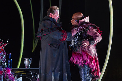 "Dale Travis (L) as Fernando Villabella and Musa Ngqungwana as Gottardo in The Glimmerglass Festival's production of ""The Thieving Magpie"""